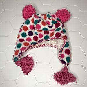 Gap Polka'd Fleece Trapper Pom Pom Hat size Small